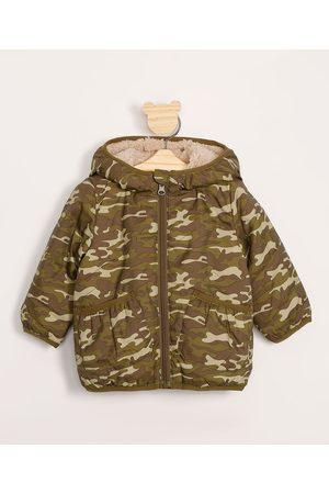 Baby Club Mini Menino Jaquetas - Jaqueta Infantil Puffer Camuflada com Capuz Verde Militar