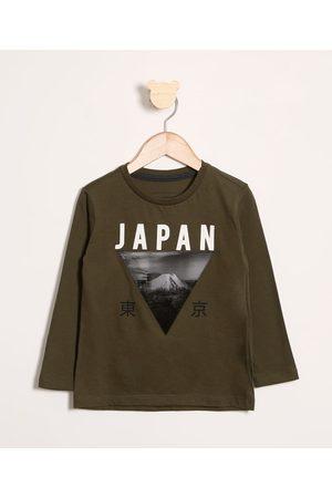 "PALOMINO Camiseta Infantil Japan"" com Bordado Manga Longa Militar"""