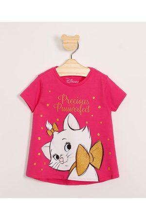 Disney Menina Blusas de Manga Curta - Blusa Infantil de Algodão Marie com Glitter Manga Curta Pink