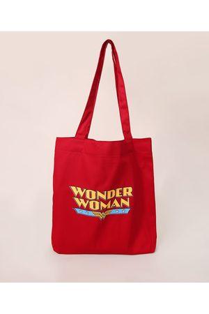 Warner Bros Mulher Mochila - Sacola Ecobag Mulher Maravilha de Lona Vermelha