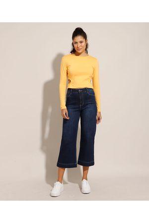 SAWARY Calça Reta Cropped Jeans Cintura Super Alta Escuro