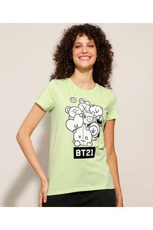 BT21 Camiseta de Algodão Manga Curta Decote Redondo Claro