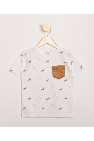 PALOMINO Menino Camisolas de Manga Curta - Camiseta Infantil Estampada Skate com Bolso Manga Curta Off White