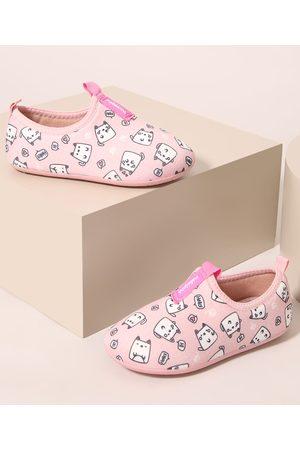 MOLEKINHA Menina Tênis - Tênis Infantil Knit Calce Fácil de Gatinho Rosa