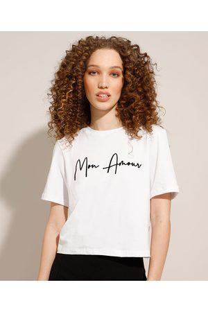 """Clockhouse Camiseta Mon Amour"""" Flocada Manga Curta Decote Redondo Branca"""""""