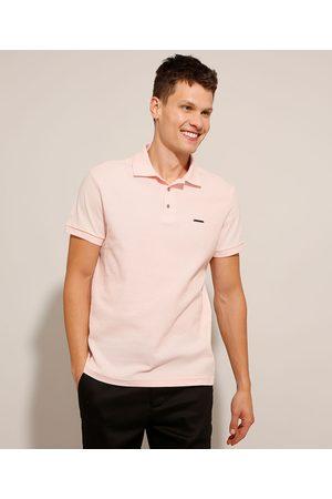AL Contemporâneo Homem Camisa Pólo - Polo Slim Quadrilê com Zíper Manga Curta Rosê