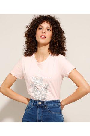 YESSICA Mulher Camiseta - Camiseta Borboleta Manga Curta Decote Redondo Claro