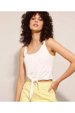 Basics Mulher Blusas tipo Regata - Regata Cropped Básica com Nó Branca