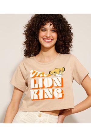 Disney Mulher Camiseta - Camiseta Cropped O Rei Leão Manga Curta Decote Redondo Kaki