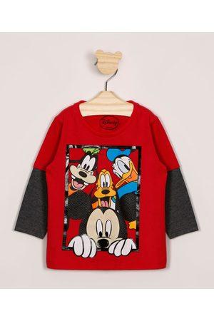 Disney Menino Camisolas de Manga Larga - Camiseta Infantil Turma do Mickey Manga Longa Sobreposição Vermelha