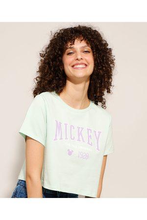 Disney Mulher Camiseta - Camiseta Cropped de Algodão Mickey Manga Curta Decote Redondo Claro