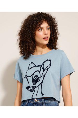 Disney Camiseta Cropped de Algodão Bambi Manga Curta Decote Redondo