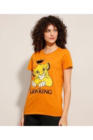 Disney Mulher Camiseta - Camiseta de Algodão Simba O Rei Leão Manga Curta Decote Redondo Mostarda