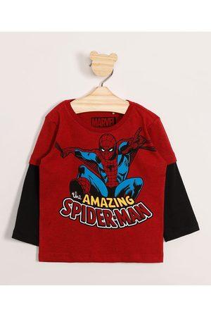 Marvel Homem Camisolas de Manga Larga - Camiseta Infantil Homem-Aranha Manga Longa com Sobreposição Vermelha