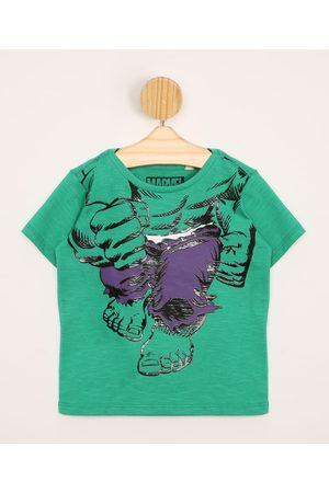 Marvel Menino Camisolas de Manga Curta - Camiseta Infantil Hulk Manga Curta Gola Careca