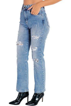 Sawary Jeans Calça Jeans Reta com Efeito Destroyed Sawary