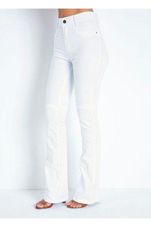 Sawary Jeans Calça Branca Boot Cut com Bolsos Sawary