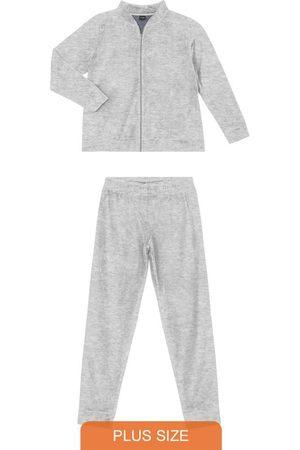 Rovitex Plus Size Conjunto Jaqueta e Calça de Plush