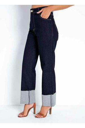 Sawary Jeans Calça Jeans Escura Reta com Bolsos Sawary