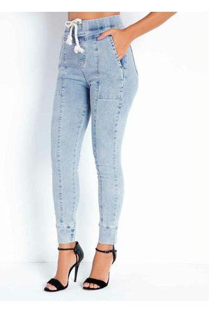 Sawary Jeans Calça Jeans Clara Jogger com Bolsos Sawary
