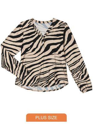 Rovitex Plus Size Camisa Feminina Animal Print