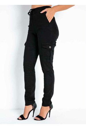 Sawary Jeans Calça Preta Jogger com Cadarço Sawary