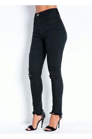 Sawary Jeans Calça Jeans Preta Super Lipo Legging Sawary