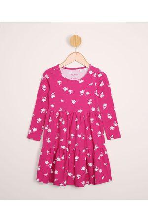 PALOMINO Menina Vestido Estampado - Vestido Infantil Floral com Recortes Manga Longa Rosa