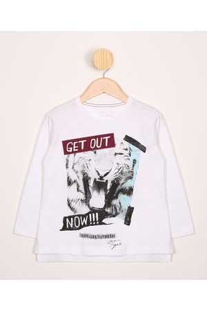 """Palomino Camiseta Infantil Get Out"""" Manga Longa Gola Careca Off White"""""""
