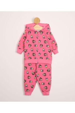 Disney Conjunto Infantil de Moletom Minnie e Margarida de Blusão com Capuz + Calça Rosa