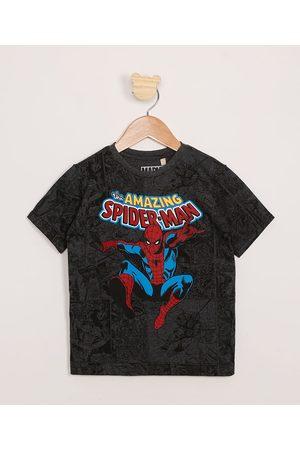 Marvel Homem Camisolas de Manga Curta - Camiseta Infantil Estampada Quadrinhos Homem-Aranha Manga Curta Cinza Mescla Escuro