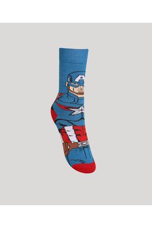 Marvel Menino Meias - Meia Infantil Cano Alto Capitão América Azul