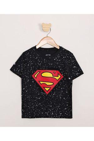 Warner Bros Homem Camisolas de Manga Curta - Camiseta Infantil Estampada Respingos Super Homem Manga Curta Azul Marinho