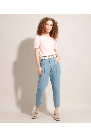SAWARY Calça Baggy Jeans com Pregas Cintura Super Alta Claro
