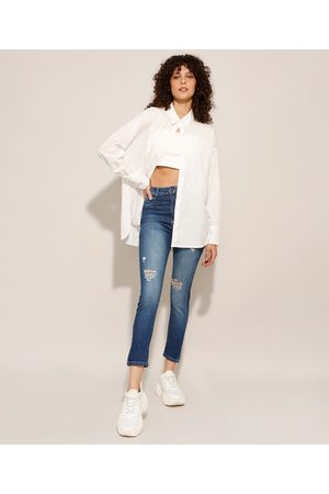 SAWARY Mulher Cintura Alta - Calça Skinny Jeans Lipo Push Up Destroyed Cintura Super Alta Médio