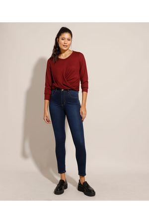 Sawary Calça Super Skinny Lipo Jeans Cintura Alta Escuro