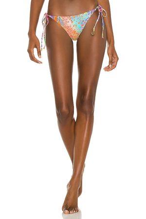 Luli Fama Wavy Ruched Back Tie Side Bikini Bottom in Pink. - size L (also in M, S, XS)