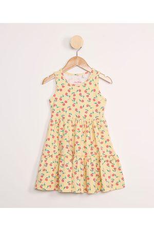 PALOMINO Vestido Infantil Amplo com Recortes Floral sem Manga Amarelo
