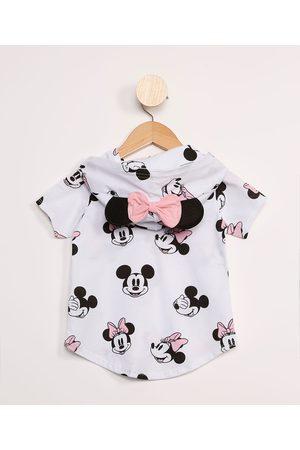 Disney Menina Blusas de Manga Curta - Blusa Infantil Mickey e Minnie Estampada Manga Curta Branca