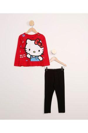 Hello Kitty Conjunto Infantil Blusa Manga Longa + Calça Legging Vermelho