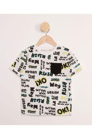 PALOMINO Camiseta Infantil Estampada Escritas com Bolso Manga Curta Branca