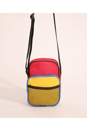 C&A Homem Mochila - Shoulder Bag Masculina com Recortes Vermelha
