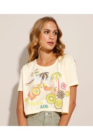 "YESSICA Mulher Camiseta - Camiseta Cropped Fresh Air"" Manga Curta Decote Redondo """