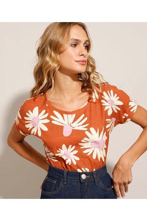 YESSICA Mulher Camiseta - Camiseta Estampada Floral Manga Curta Decote Redondo Marrom