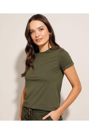 Basics Camiseta Básica Manga Curta Dobrada Decote Redondo Militar