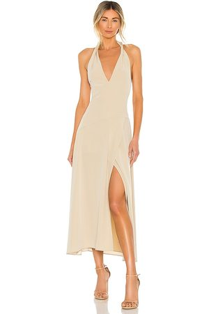 Vince Tie Back Paneled Halter Dress in Neutral. - size L (also in M, S, XS)