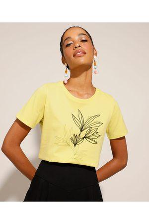 YESSICA Mulher Camiseta - Camiseta de Algodão com Estampa de Folhagens Manga Curta Claro
