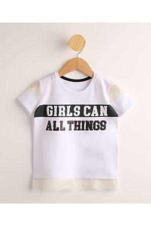 "PALOMINO Blusa Infantil Girls Can All Things"" com Paetês Manga Curta Branca"""