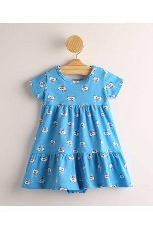 Galinha Pintadinha Menina Vestido Estampado - Vestido Infantil Estampado Manga Curta + Calcinha