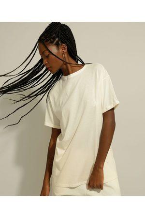 Basics Camiseta Longa Básica Manga Curta Gola Careca Off White